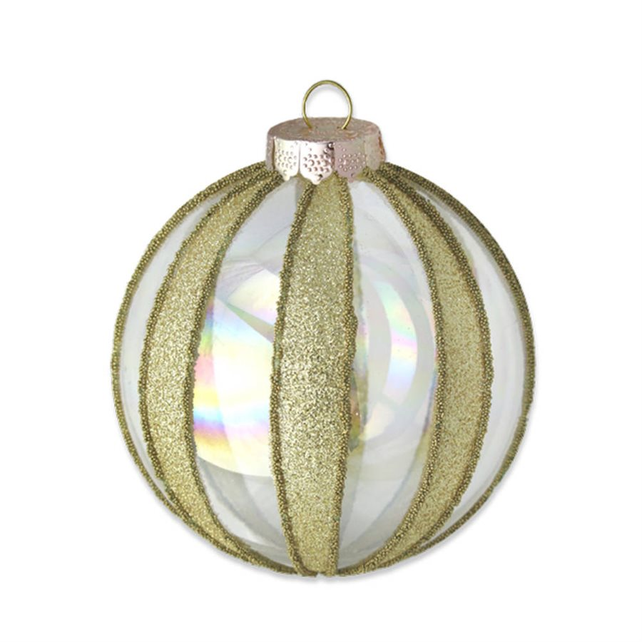 Glass & Gold Striped Round