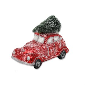 Snow Dusted Red Car