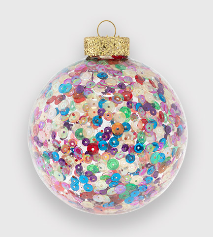 Glitzy rainbow sequin round ornament for your Christmas decor!
